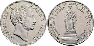 Lot 506: Bavaria. Maximilian II, 1848-1864. Historical double taler 1849, Munich. Extremely fine. Estimate: 1,500 euros. Starting price: 900 euros.