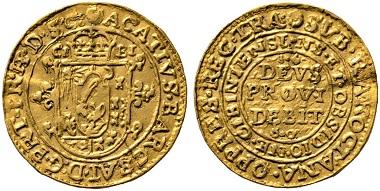 Lot 564: Transylvania. Achatius Barcsay, 1659-1660. Ducat 1660, Hermannstadt (Sibiu). Extremely rare. Very fine. Estimate: 40,000 euros. Starting price: 24,000 euros.