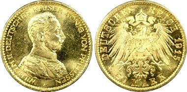 Kaiserreich Preußen Wilhelm II. 20 Mark, 1915-A.