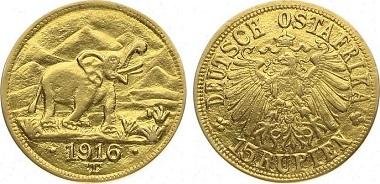 Deutsch Ostafrika. 15 Rupien, 1916 T Elefant.