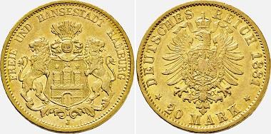 Hamburg. 20 Mark 1881 J.