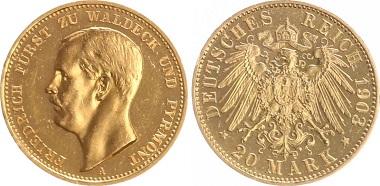Altdeutschland / Waldeck und Pyrmont. 20 Mark 1903 A.