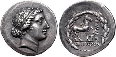 Lot 373: AEOLIS, Kyme. Circa 155-143 BC. AR Tetradrachm. Stephanophoric type. Straton, magistrate. Oakley dies 47/a (this coin cited and illustrated). Good VF. From the estate of Thomas Bentley Cederlind. Ex Kölner Münzkabinett 12 (26 March 1973), lot 52. Estimate $500.
