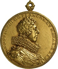 Guillaume Dupré, Medaille auf Ludwig XIII. und Anna von Österreich, 1620 (Landesmuseum Württemberg, Stuttgart, Inv.-Nr. MK 19474). © Landesmuseum Württemberg, Stuttgart, Foto: Hendrik Zwietasch und Adolar Wiedemann.