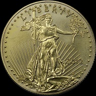 The front and back of a counterfeit 2012-dated American Eagle $50 denomination one-ounce gold bullion coin. Photo courtesy of Numismatic Guaranty Corporation.
