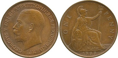 Lot 1070: 1933 George V Copper Pattern Penny. Sold: £72,000.
