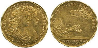 Lot 2327: William & Mary (1688-1694), Coronation Gold Medal, 1689. Sold: £7,200.