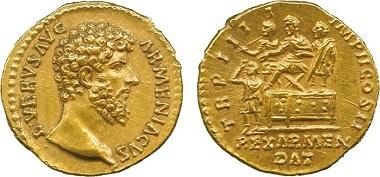 Lot 27: Roman, Lucius Verus (AD 161-169), Gold Aureus. Sold: £21,000.