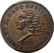 Lot 4572: 1792 P10C Disme, Judd-10, Pollock-11, SP64 Brown PCGS Secure. Realized: $705,000.