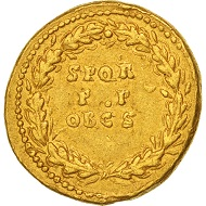 501855: Claudius, Aureus, Rome, AU(50-53), Gold, RIC:40. General circulation marks, otherwise good very fine. 15,000 EUR.