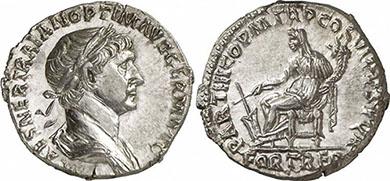 TRAJAN. Denar. Ex Gorny & Mosch 191 n. 2114. 3, 29 g.