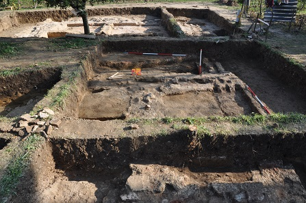 View of the excavation site with the architectural remnants of the mausoleum. Photo: Dr Norbert Pap.