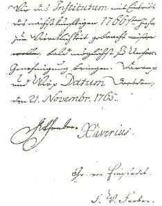 Rescript-Auszug vom 21.11.1765, unterschrieben von Xaverius, Graf von Einsiedel und F. W. Ferber [2].