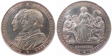 Gedenkmedaille, erst 1867 geprägt, im Gewicht eines Doppeltalers auf 100 Jahre Bergakademie Freiberg.