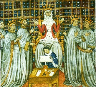 Queen Clotilde divides her kingdom between the four sons of her late husband Clovis.