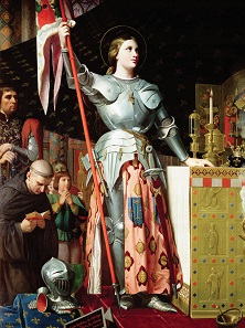 Jeanne d'Arc assisting the coronation of Charles V. Deatil of a painting by Dominique Ingres, 1854.