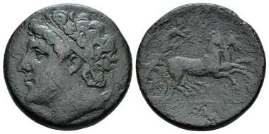 Lot 131: Sicily, Syracuse Bronze, ca. 274-216. SNG Copenhagen 832. Calciati II, 196. Very rare. Very fine/good fine. From the E.E. Clain-Stefanelli collection. Starting bid: £ 300.