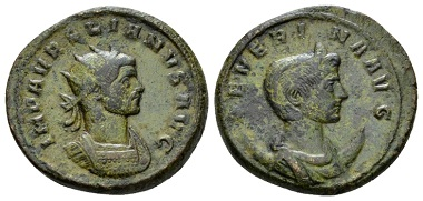 Lot 482: Aurelianus with Severina, double sestertius January-September AD 275. RIC V 1 (Sestertius). CBN 322-6 (Dupondius). Attractive light green patina. Good very fine. From the E.E. Clain-Stefanelli collection. Starting bid: £ 300.