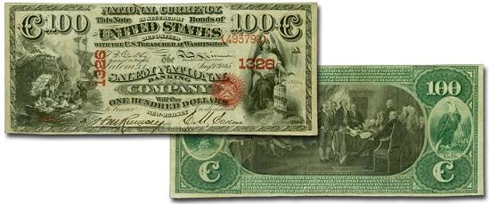Salem National Banking Company, Salem, New Jersey, $100, Charter #1326. Estimate: $80,000-$120,000.