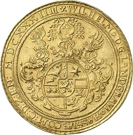 Hesse-Kassel, William V, 1627-1637. 10 ducats 1634, Kassel. Minted with double thaler dies.