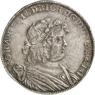 Duchy of Brunswick-Lüneburg. John Frederick, 1665-79. Reichsthaler 1673, Clausthal. Very rare. Extremely fine. Estimate: 5,000 euro. From Künker auction sale 278 (2016), 1789.