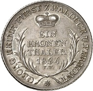 Waldeck. George II, 1813-1845. Kronenthaler 1824. Very fine to extremely fine. Estimate: 400 euro. From Künker auction sale 278 (2016), 2228.