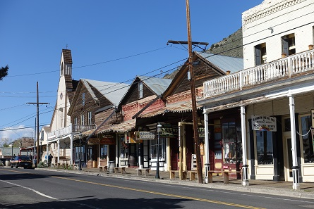 A look at today's Main Street of Virginia City with its many saloons and souvenir shops. In the 1870s, this used to be a major city that had its own opera house. Photograph: UK.