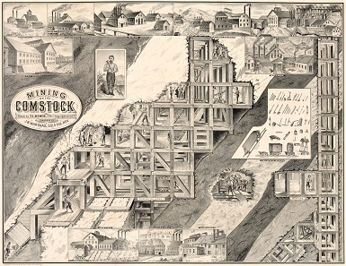 Probably the most famous depiction of the Comstock Mine. The mined ore deposits were underpinned with a standardized framework to prevent a collapse. Source: Wikipedia.