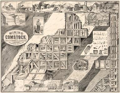 Wohl die berühmteste Abbildung der Comstock Mine. Die abgebauten Erzlager wurden mit einem standardisierten Gerüst ausgefüllt, um einen Einsturz zu verhindern. Quelle: Wikipedia.