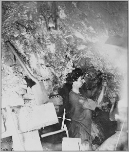 Miner of the Comstock Mine. Photograph: National Archives and Records  Administration 519527 / Wikipedia.