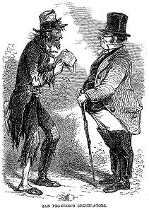 Der San Francisco Spekulant. Aus J. Ross Browne, A Peep at Washoe, veröffentlicht 1861.