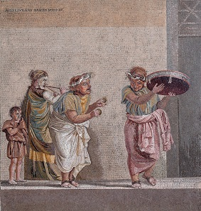 Mosaic Emblèma with Itinerant Musicians. Roman, Late Republican period, 2nd-1st century B.C. H. 18 7/8 in. (48 cm), W. 18 1/8 in. (46 cm). Museo Archeologico Nazionale, Naples (inv. no. 9985)).