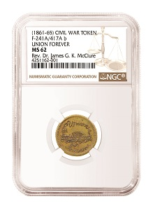 1861-65 Civil War Token F-241A/417A b NGC MS 62.