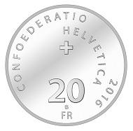 Schweiz / 20 CHF / .835 Silber / 20 g / 33 mm / Design: Remo Mascherini / Auflage: 30.000 (unzirkuliert), 5.000 (Polierte Platte).