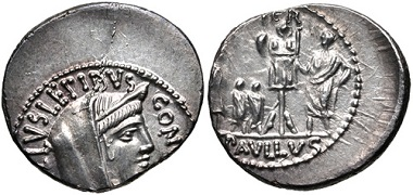 Lot 409: Roman Republic. L. Aemilius Lepidus Paullus. 62 BC. Denarius. Crawford 415/1). Extremely fine, toned, off center, die break on obverse. From the RBW Collection. Estimate: $100.