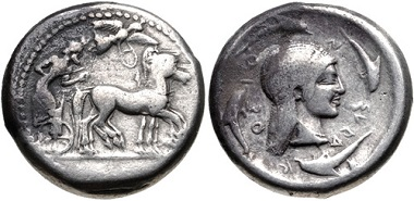 Lot 22: Sicily, Syracuse. Hieron I. 478-466 BC. Tetradrachm. Struck circa 478-475 BC. Boehringer Series IXa, 197 (V88/R136); HGC 2, 1306. Near very fine. From the Colin E. Pitchfork Collection. Estimate: $300.