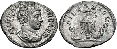 Lot 467: Roman Republic. Severus Alexander. As Caesar. AD 222. Denarius. Struck under Elagabalus. RIC IV 3. Near extremely fine. Rare. From the M. A. Armstrong Collection. Estimate: $500.