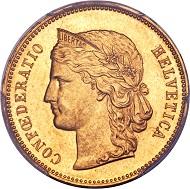Schweiz. Eidgenossenschaft. Probe zu 20 Franken 1895 B. GONDOGOLD. Aus einer Berner Sammlung. PCGS MS62.