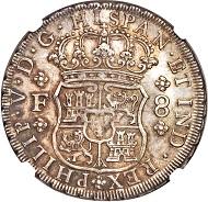 Mexiko. Philip V., 1700-1746. 8 Reales 1733. Aus Sammlung Isaac Rudman. NGC MS63.