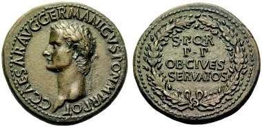 Lot 48: Roman Empire. Caligula. Sestertius, 37 AD. RIC 27. Starting price: 2,500 euros.
