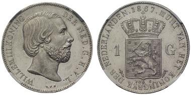 Lot 413: The Netherlands. Wilhelm III. Gulden, 1867. K93. Starting price: 9,500 euros.
