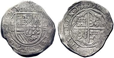 Lot 562: Felipe II. 8 reales, 1597, Segovia. Starting price: 3,500 euros.