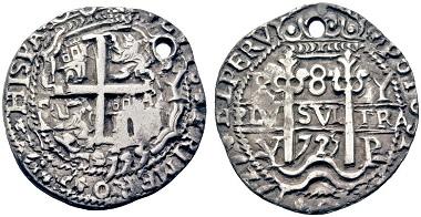 Lot 940: Luis I. 8 reales, 1725, Potosí. Starting price: 3,000 euros.