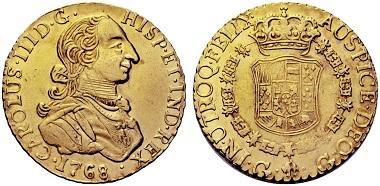 Lot 1168: Carlos III. 8 escudos, 1768, Guatemala. Starting price: 40,000 euros.