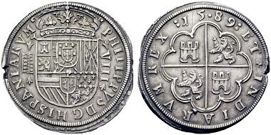 Lot 1131: Felipe II. 8 reales, 1589, Segovia. Starting price: 900 euros.