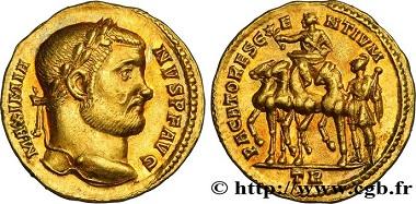 Lot 391244: Roman Empire, Maximian, Aureus. Trier 297. C. 424 (300f.); RIC 65b (R3). About extremely fine. Estimate: 25,000 Euro.