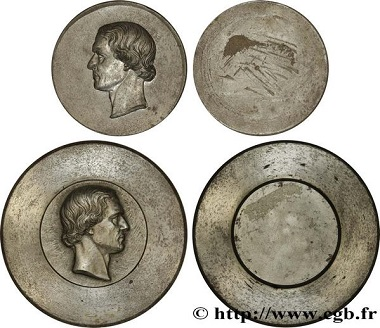 Lot 384299: Second Empire, two dies, no date (1843-1855). Head of Jacques-Jean Barré. Extremely fine. Estimate: 5,000 Euro.