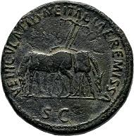 Lot 136: Nerva. Sestertius 97, Rome, on the charging a post tranportation tax. Black-green patina, rare. Porous surface, very fine.