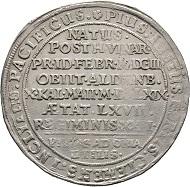 Lot 554: Sachsen-Altenburg, Duchy. Friedrich Wilhelm II. Reichstaler 1669, Saalfeld (no mint mark), on his death. Dav. 7404. Grasser 336. Rare. Fields smoothed, very fine.