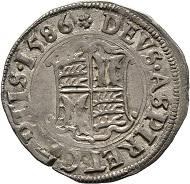 Los 560: Württemberg- Mömpelgard, Herzogtum. Friedrich der Großmütige. 3 Kreuzer 1586, Mömpelgard. Ebner 16. Débard -. Selten. Sehr schön.